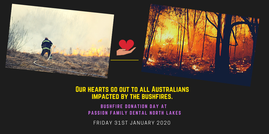 bushfire donation day at passion family dental north lakes banner
