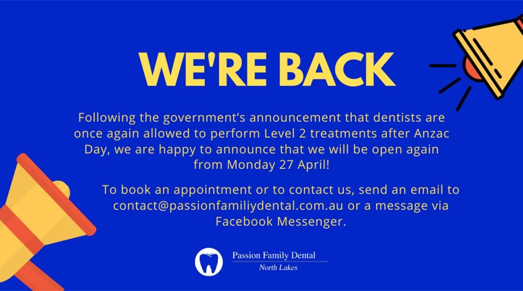 COVID-19 Update: Announcing Eased Dental Restrictions