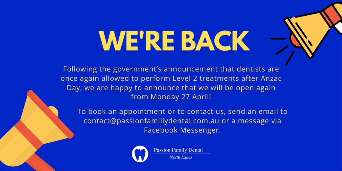 covid-19 update announcing eased dental restrictions